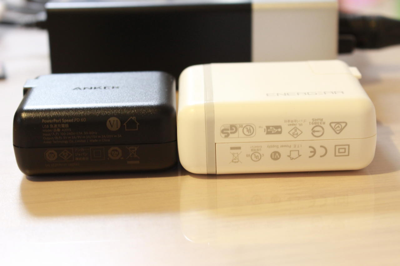 Anker PowerPort Speed 1 PD 60の大きさを比較②