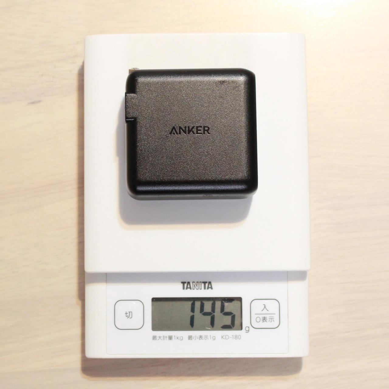 Anker PowerPort Speed 1 PD 60は145g