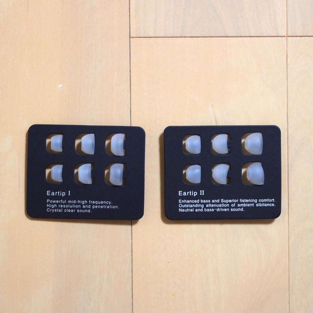 SIMGOT EM2は2種類x3サイズのイヤーチップが付属