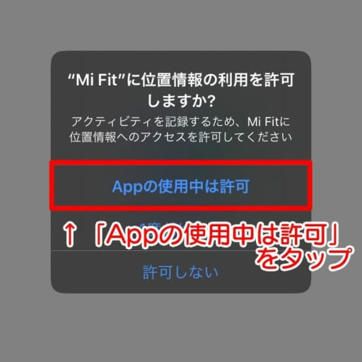 位置情報の利用について「Appの使用中は許可」をタップします