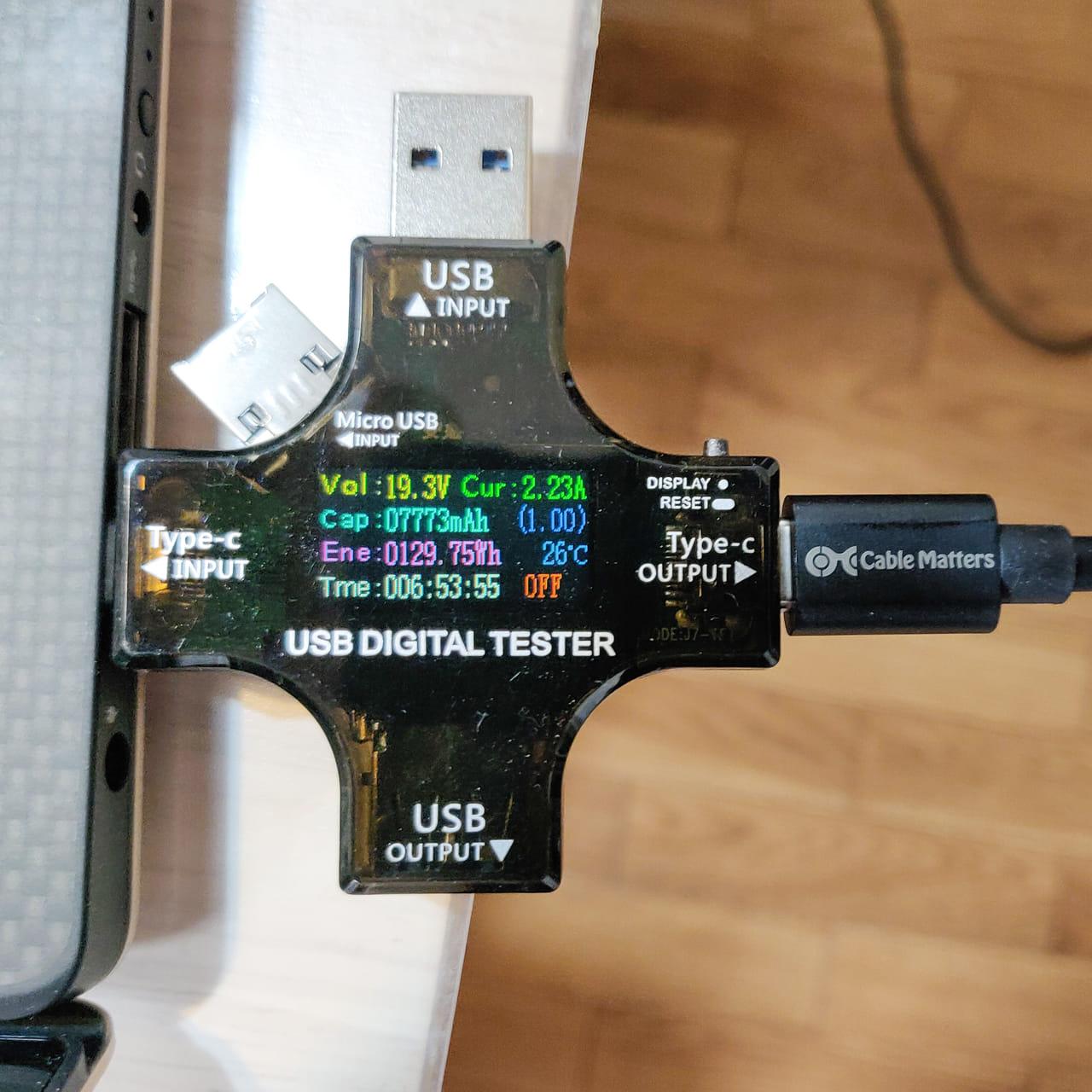 XPS 13を約45Wで充電しながら使用できました