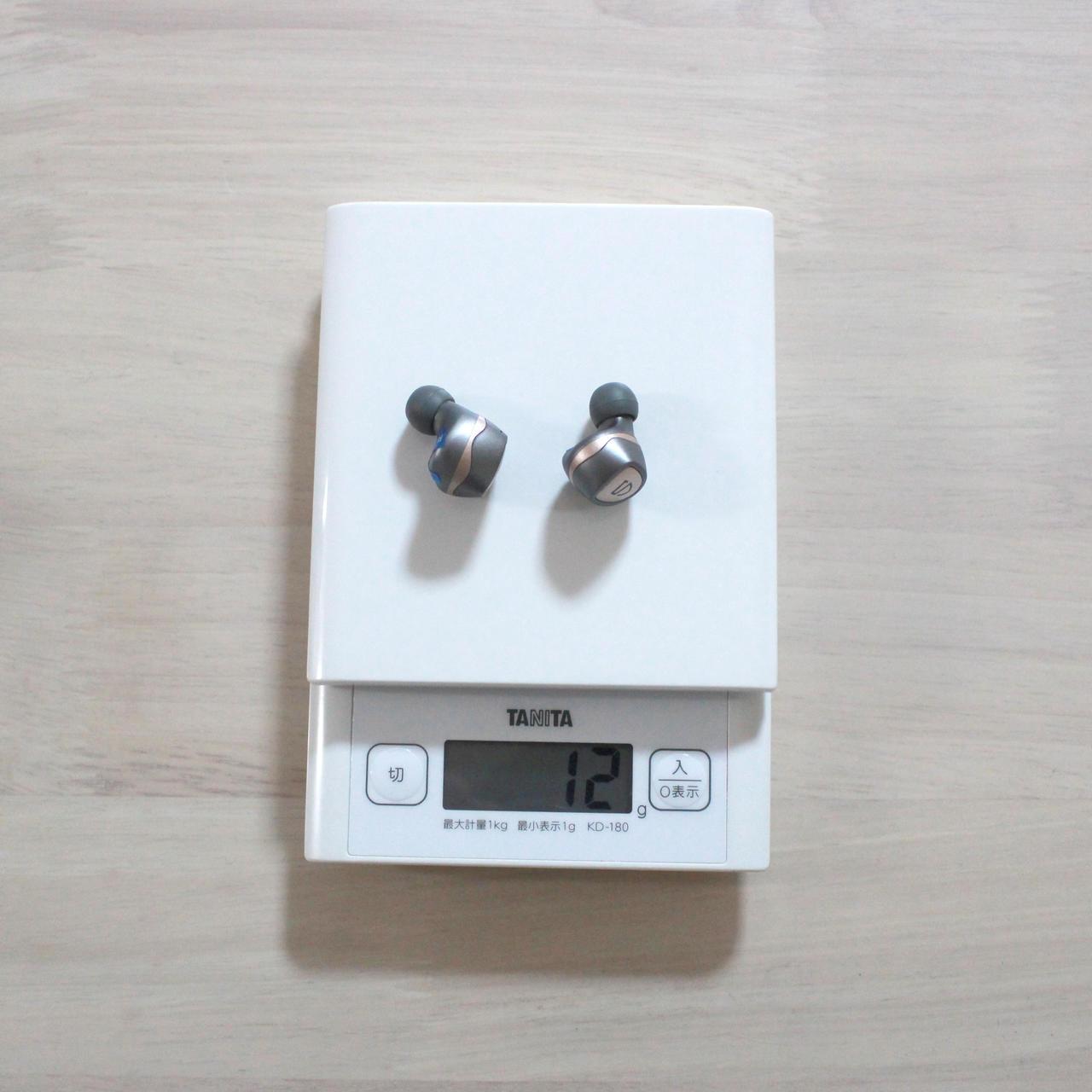 SOUNDPEATS Sonicの本体は両耳合わせて12g